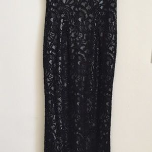 Black embroidered long party dress